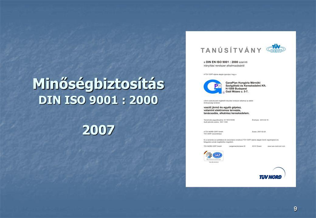Minőségbiztosítás DIN ISO 9001 : 2000 2007