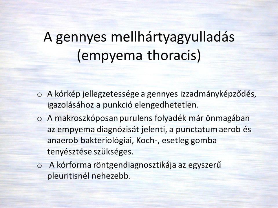 A gennyes mellhártyagyulladás (empyema thoracis)
