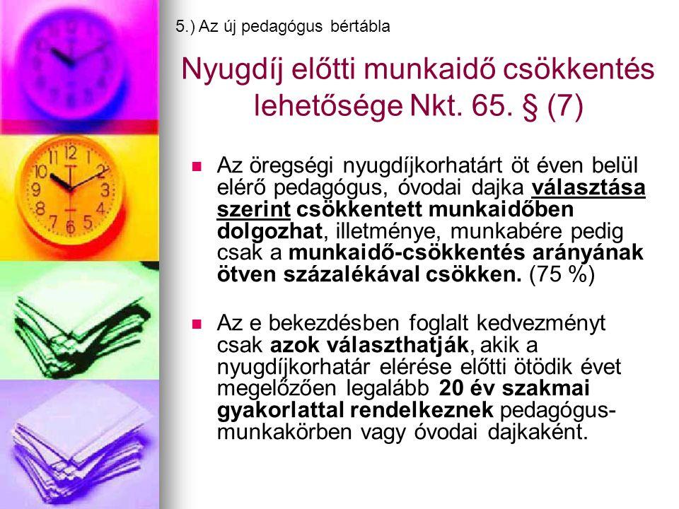 Nyugdíj előtti munkaidő csökkentés lehetősége Nkt. 65. § (7)
