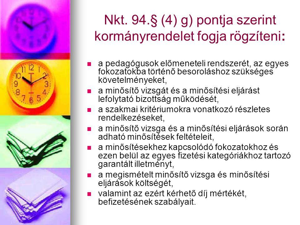 Nkt. 94.§ (4) g) pontja szerint kormányrendelet fogja rögzíteni: