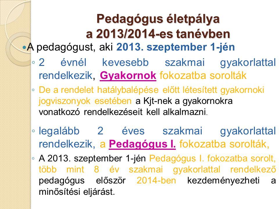 Pedagógus életpálya a 2013/2014-es tanévben