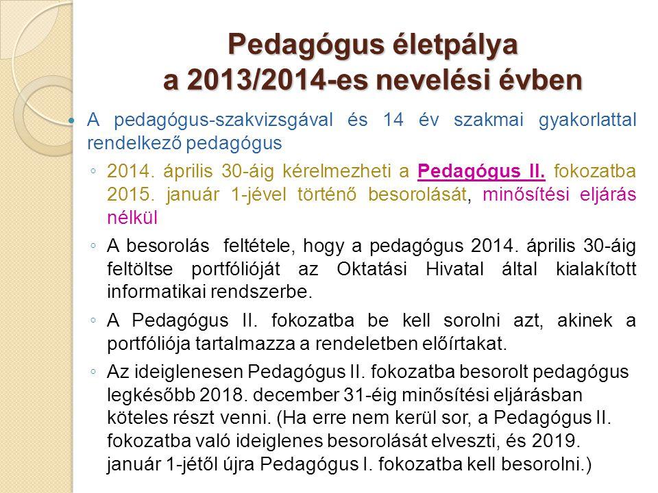 Pedagógus életpálya a 2013/2014-es nevelési évben