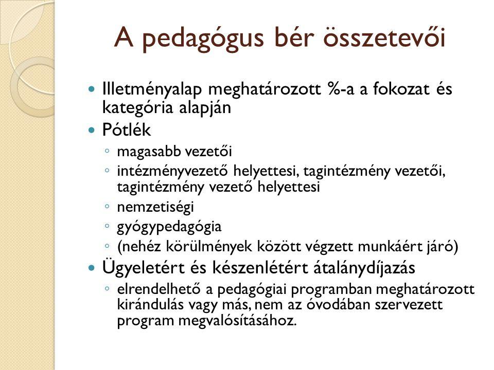 A pedagógus bér összetevői