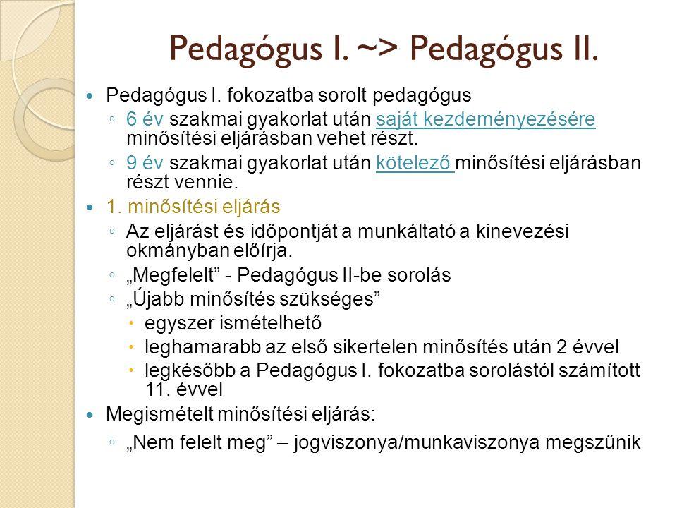 Pedagógus I. ~> Pedagógus II.