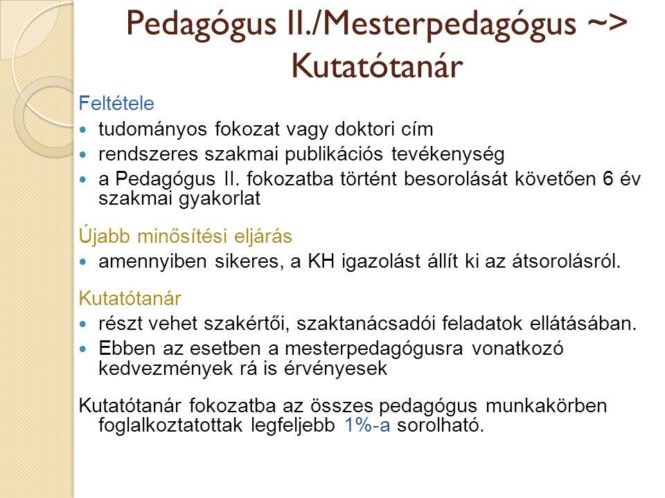 Pedagógus II./Mesterpedagógus ~> Kutatótanár