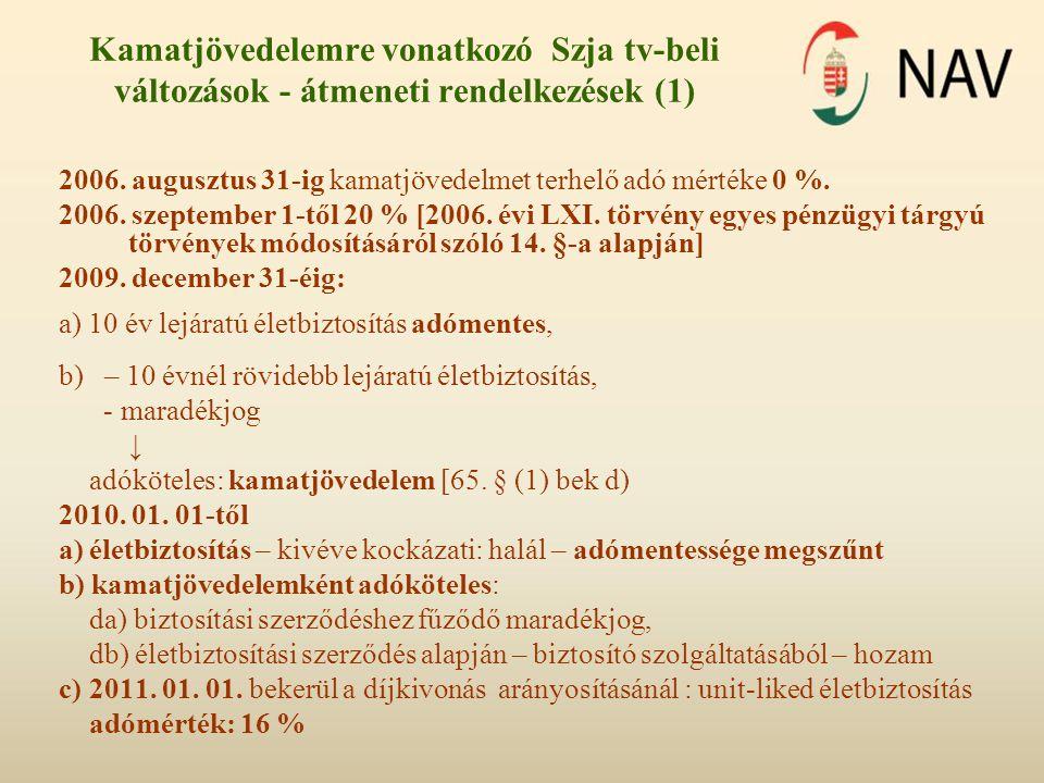 Kamatjövedelemre vonatkozó Szja tv-beli változások - átmeneti rendelkezések (1)