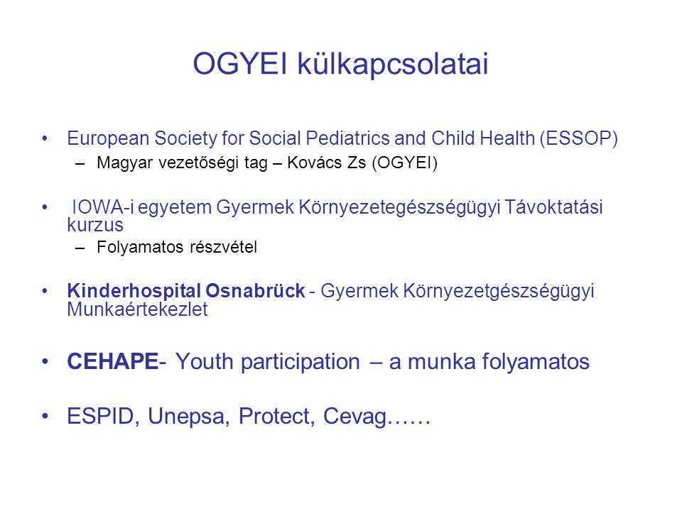 OGYEI külkapcsolatai CEHAPE- Youth participation – a munka folyamatos