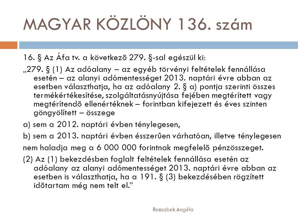 MAGYAR KÖZLÖNY 136. szám