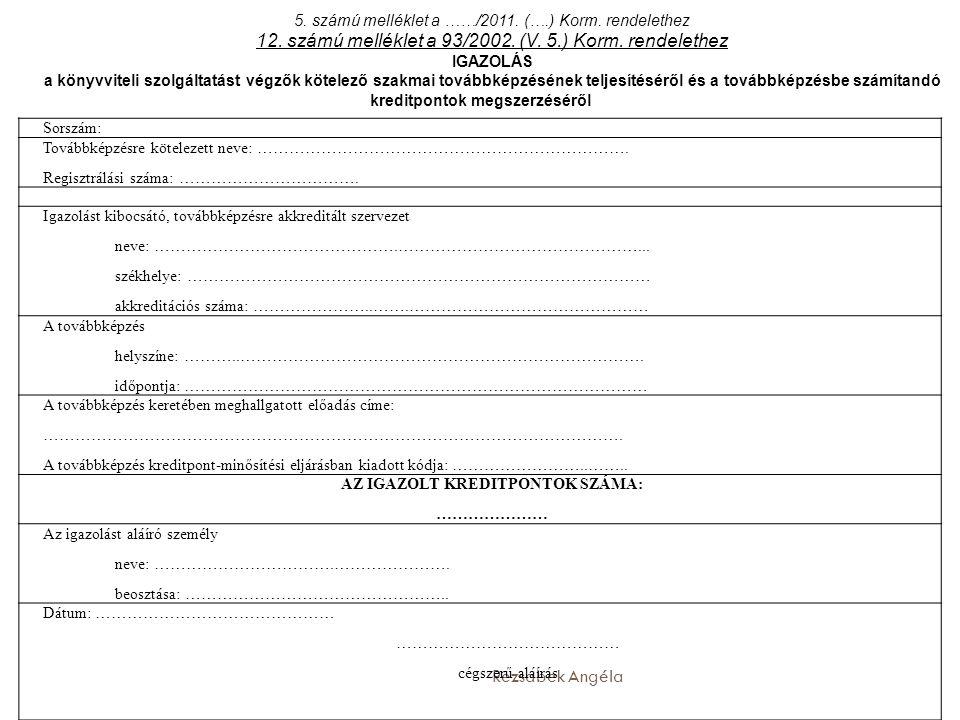 12. számú melléklet a 93/2002. (V. 5.) Korm. rendelethez
