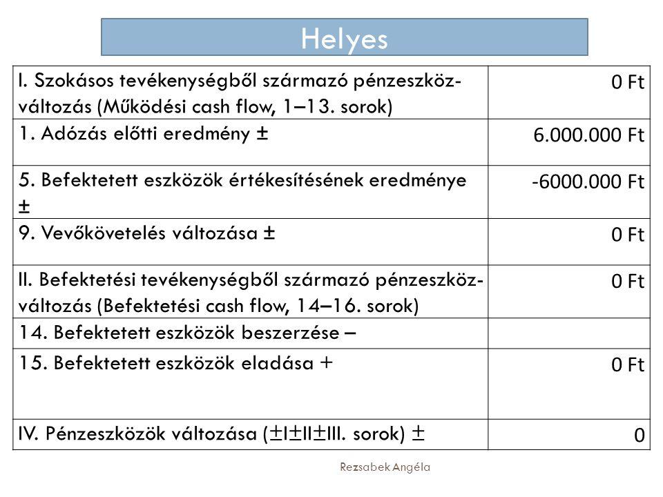 Helyes I. Szokásos tevékenységből származó pénzeszköz-változás (Működési cash flow, 1–13. sorok) 0 Ft.