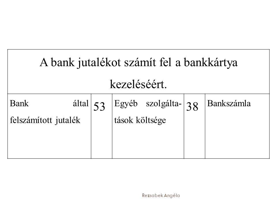 A bank jutalékot számít fel a bankkártya kezeléséért.