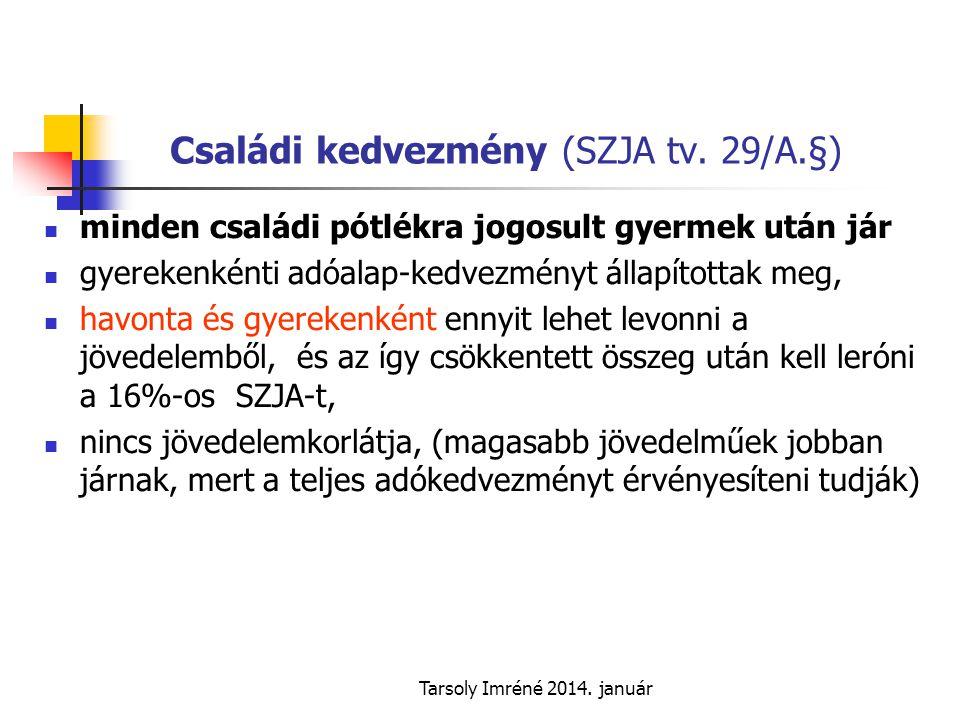 Családi kedvezmény (SZJA tv. 29/A.§)