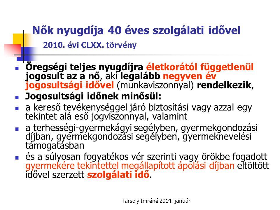 Nők nyugdíja 40 éves szolgálati idővel 2010. évi CLXX. törvény