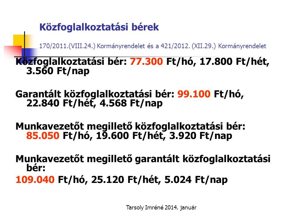 Közfoglalkoztatási bér: 77.300 Ft/hó, 17.800 Ft/hét, 3.560 Ft/nap