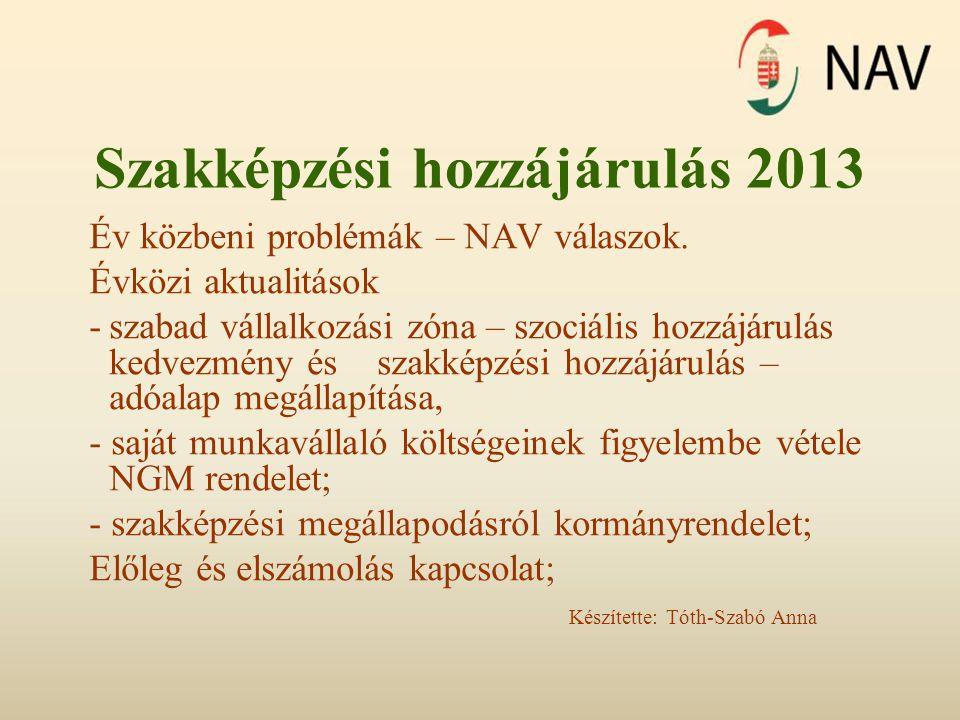 Szakképzési hozzájárulás 2013