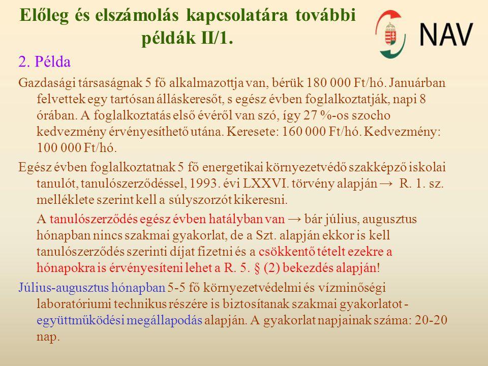 Előleg és elszámolás kapcsolatára további példák II/1.