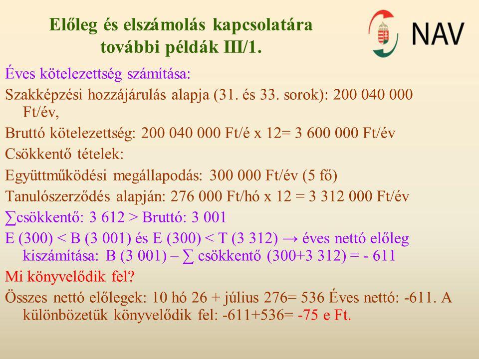 Előleg és elszámolás kapcsolatára további példák III/1.