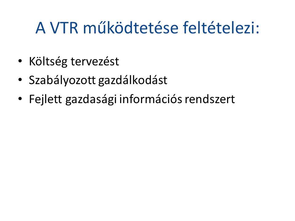 A VTR működtetése feltételezi: