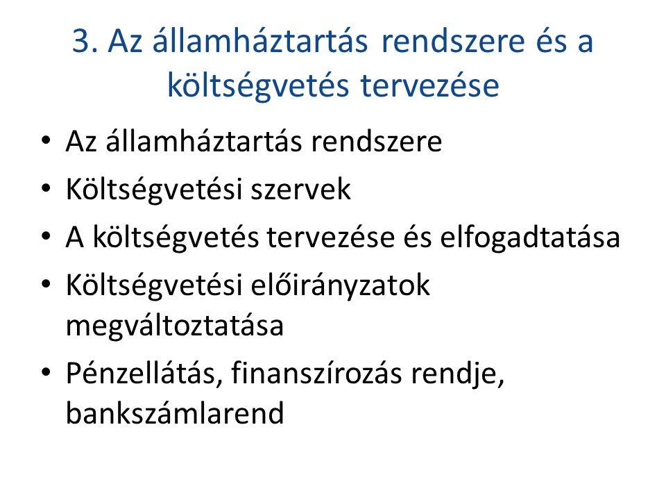 3. Az államháztartás rendszere és a költségvetés tervezése