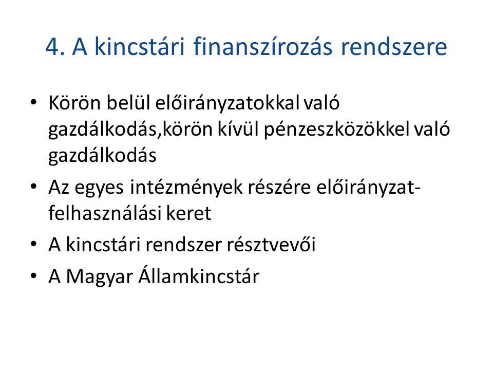 4. A kincstári finanszírozás rendszere