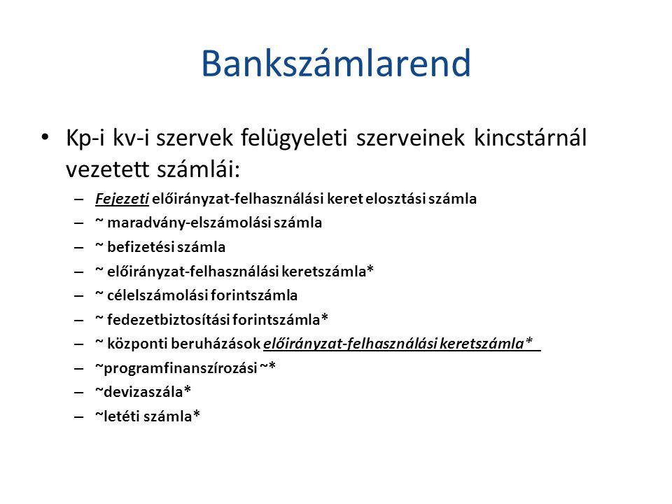 Bankszámlarend Kp-i kv-i szervek felügyeleti szerveinek kincstárnál vezetett számlái: Fejezeti előirányzat-felhasználási keret elosztási számla.