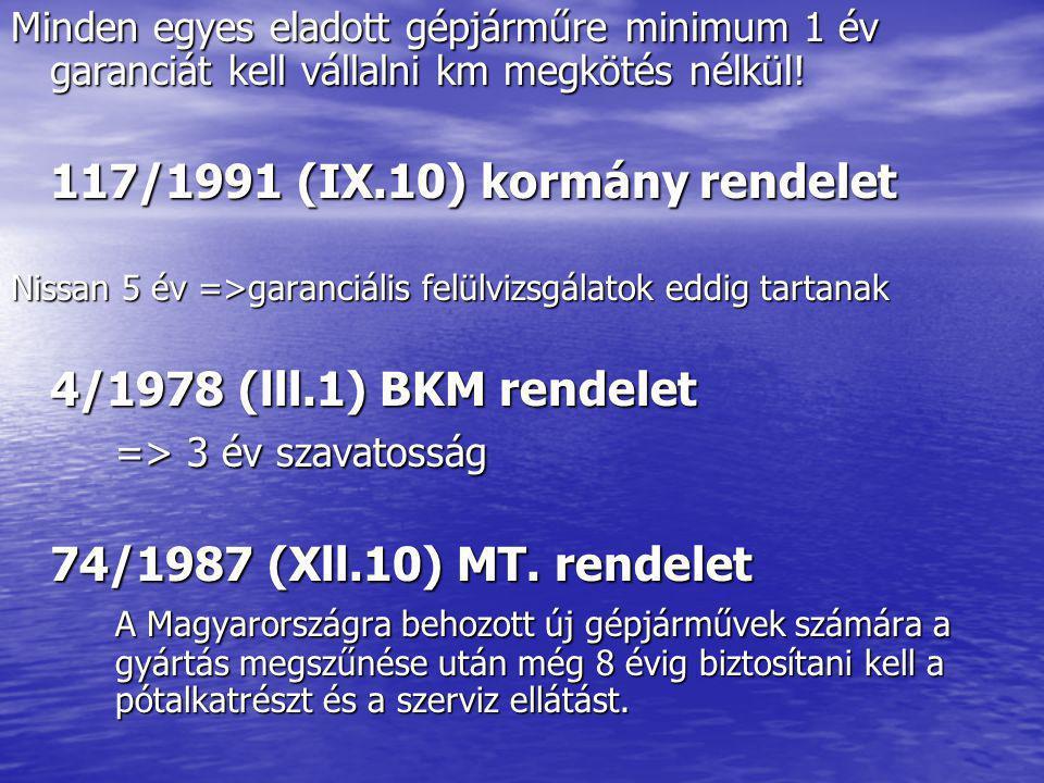 4/1978 (lll.1) BKM rendelet => 3 év szavatosság
