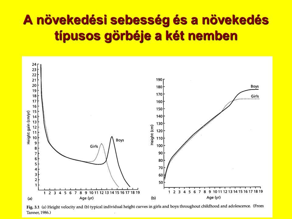 A növekedési sebesség és a növekedés típusos görbéje a két nemben