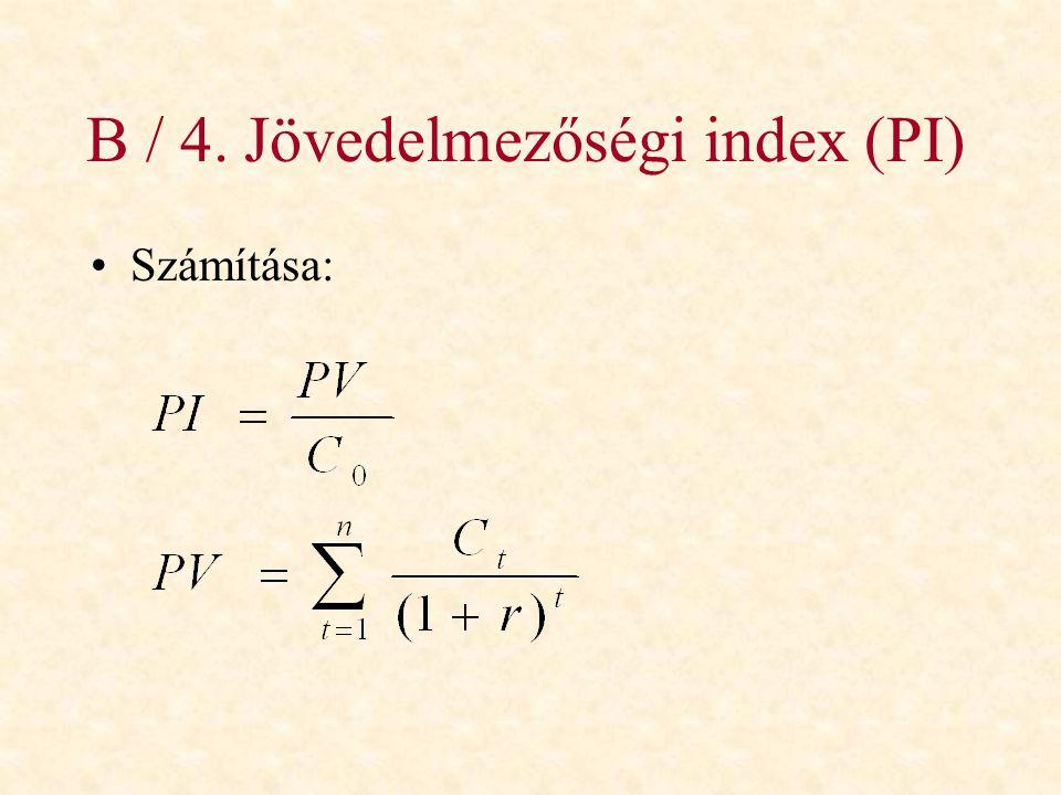 B / 4. Jövedelmezőségi index (PI)