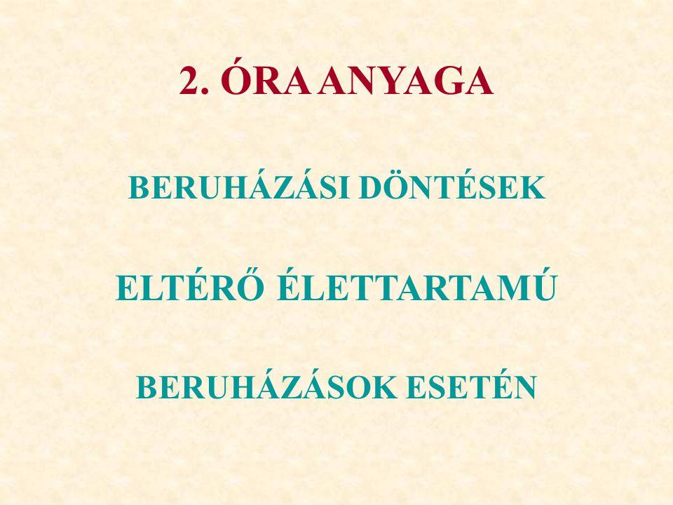 2. ÓRA ANYAGA ELTÉRŐ ÉLETTARTAMÚ BERUHÁZÁSI DÖNTÉSEK