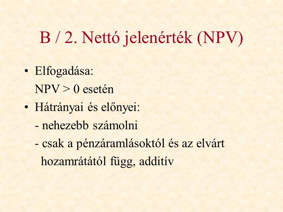 B / 2. Nettó jelenérték (NPV)