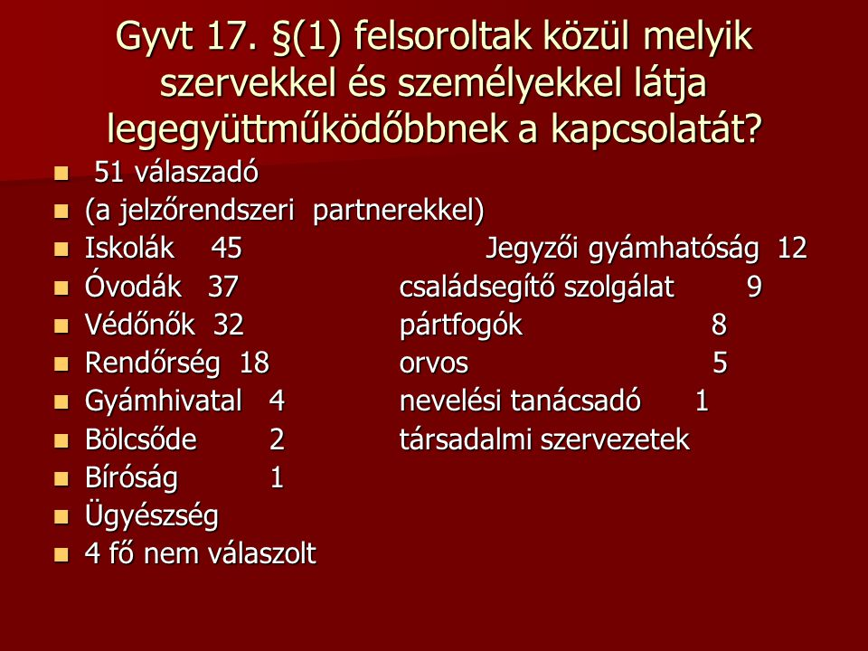 Gyvt 17. §(1) felsoroltak közül melyik szervekkel és személyekkel látja legegyüttműködőbbnek a kapcsolatát