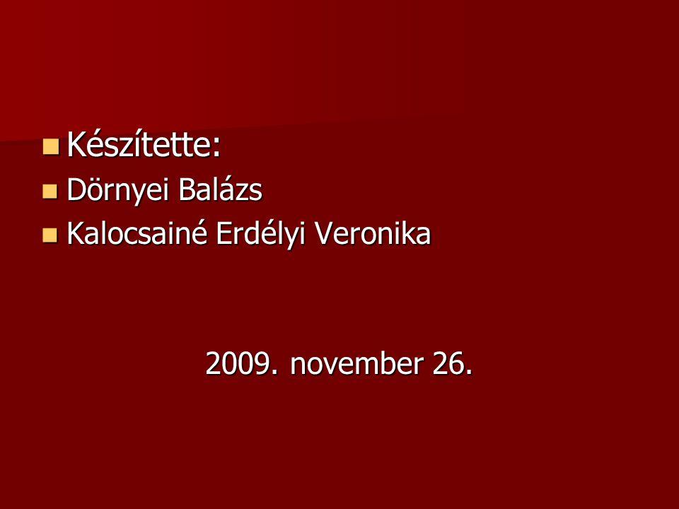 Készítette: Dörnyei Balázs Kalocsainé Erdélyi Veronika