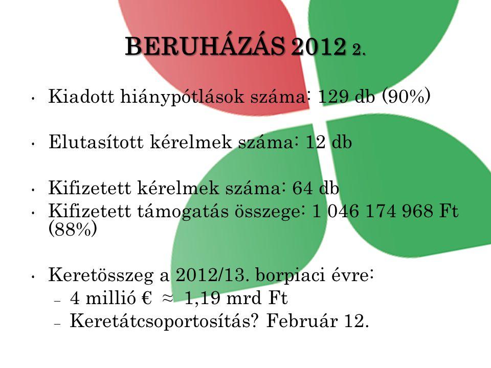 BERUHÁZÁS 2012 2. Kiadott hiánypótlások száma: 129 db (90%)