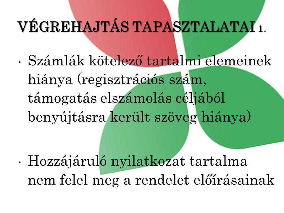 VÉGREHAJTÁS TAPASZTALATAI 1.