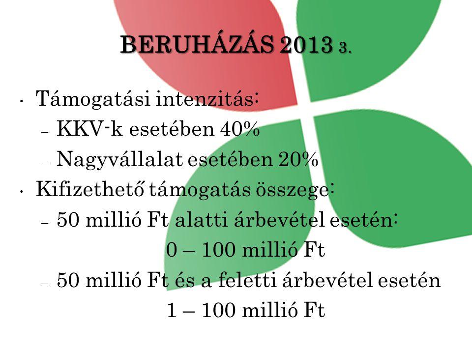 BERUHÁZÁS 2013 3. Támogatási intenzitás: KKV-k esetében 40%