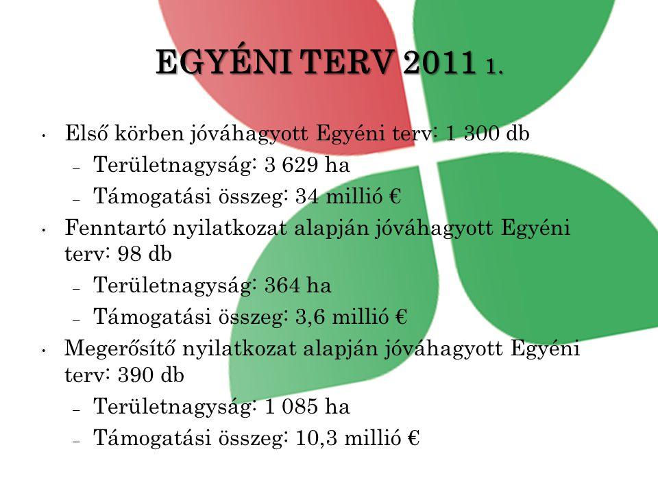 EGYÉNI TERV 2011 1. Első körben jóváhagyott Egyéni terv: 1 300 db
