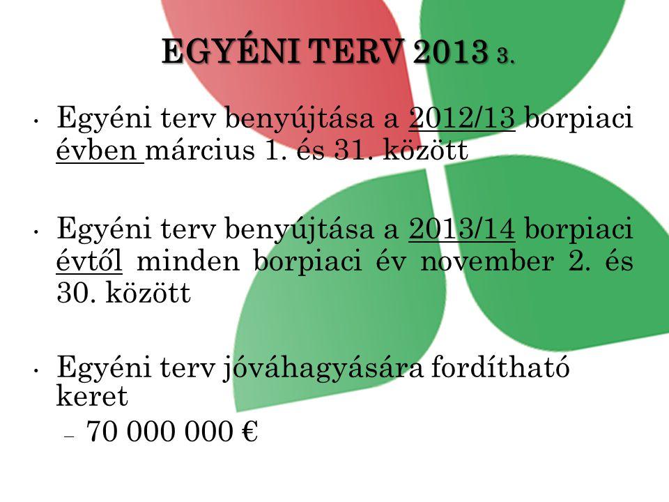 EGYÉNI TERV 2013 3. Egyéni terv benyújtása a 2012/13 borpiaci évben március 1. és 31. között.