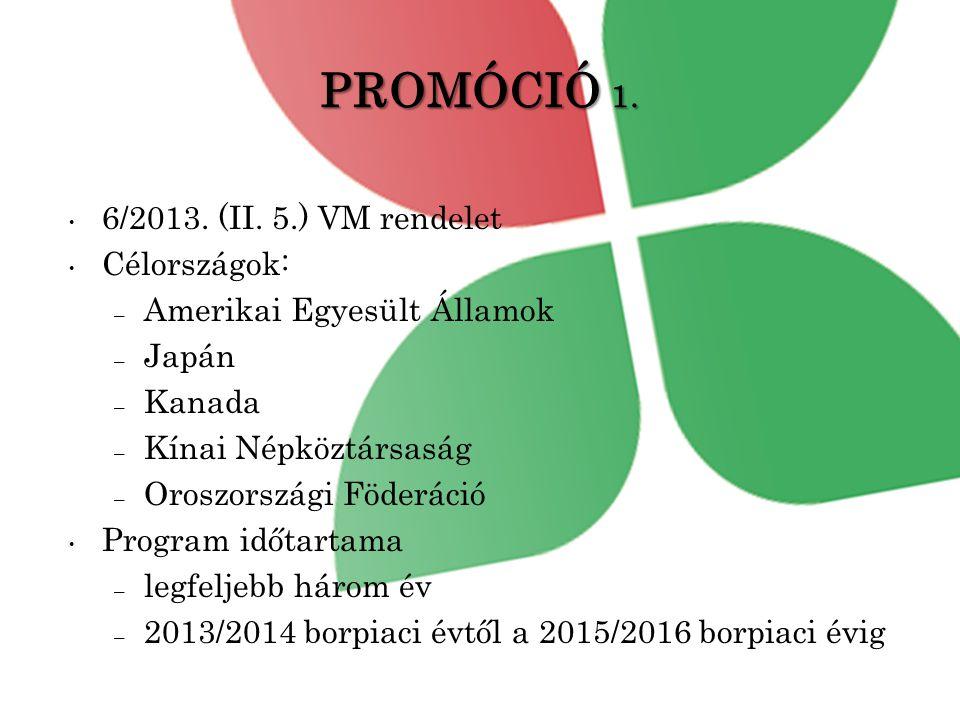 PROMÓCIÓ 1. 6/2013. (II. 5.) VM rendelet Célországok: