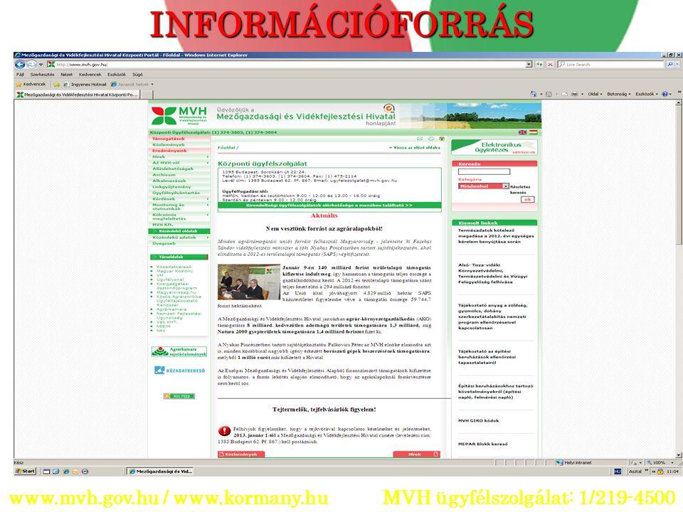 www.mvh.gov.hu / www.kormany.hu MVH ügyfélszolgálat: 1/219-4500