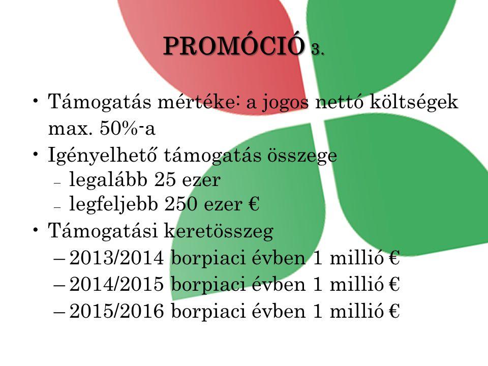 PROMÓCIÓ 3. Támogatás mértéke: a jogos nettó költségek max. 50%-a