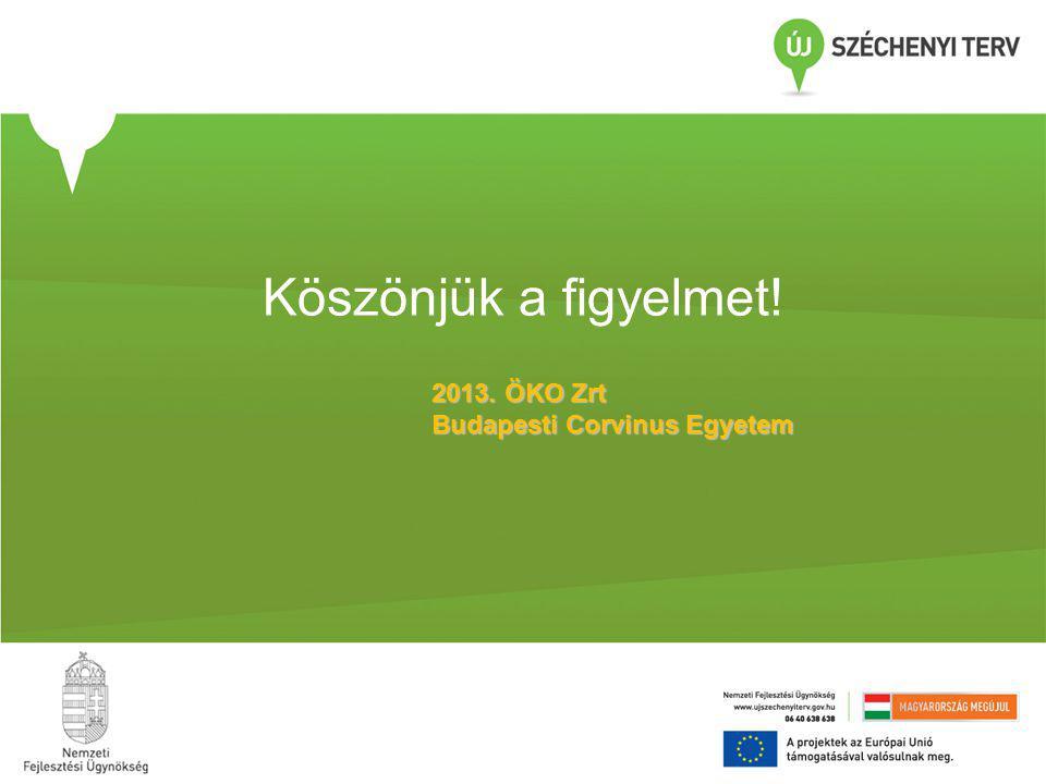 Köszönjük a figyelmet! 2013. ÖKO Zrt Budapesti Corvinus Egyetem