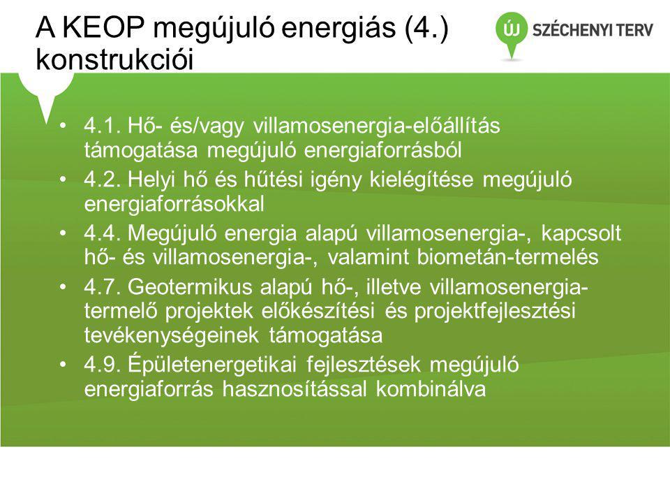 A KEOP megújuló energiás (4.) konstrukciói