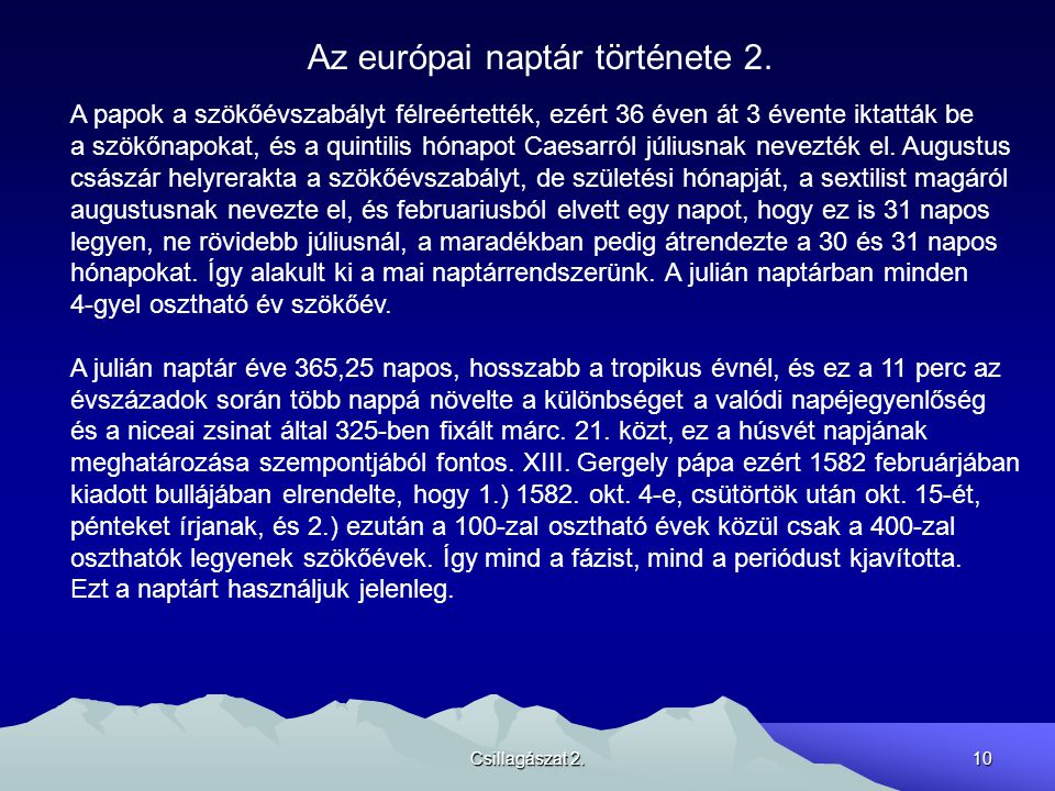 Az európai naptár története 2.