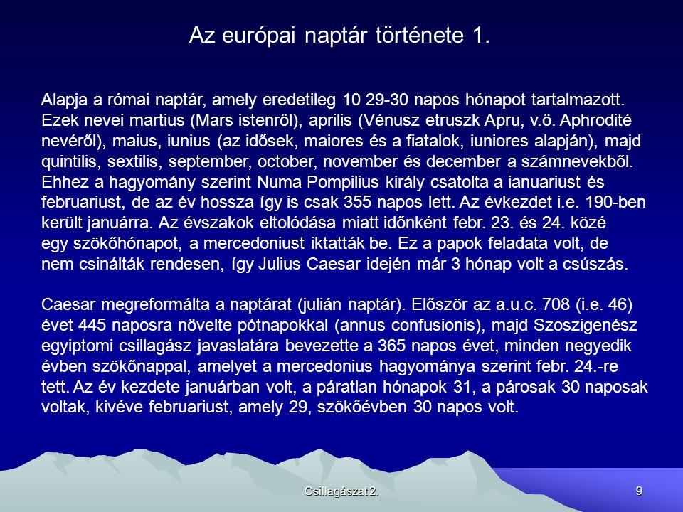 Az európai naptár története 1.