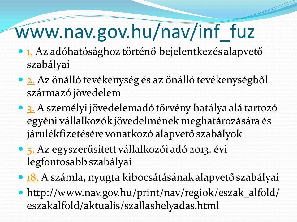 www.nav.gov.hu/nav/inf_fuz 1. Az adóhatósághoz történő bejelentkezés alapvető szabályai