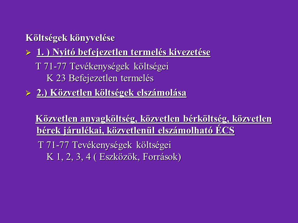 Költségek könyvelése 1. ) Nyitó befejezetlen termelés kivezetése. T 71-77 Tevékenységek költségei K 23 Befejezetlen termelés.