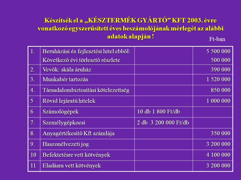 """Készítsék el a """"KÉSZTERMÉK GYÁRTÓ KFT 2003"""