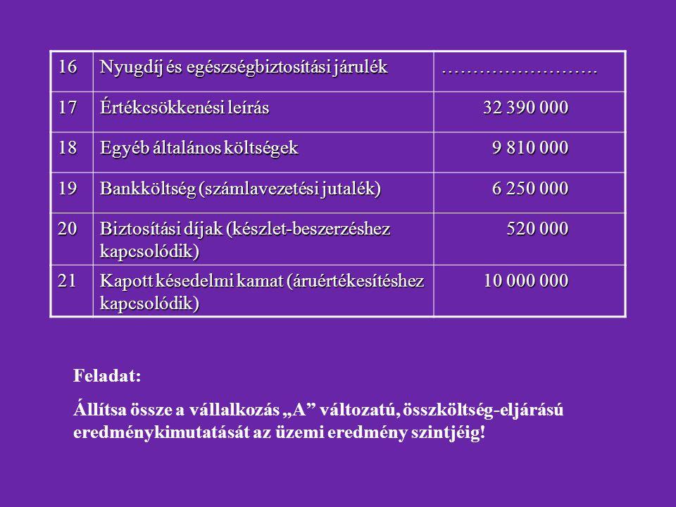 16 Nyugdíj és egészségbiztosítási járulék. ……………………. 17. Értékcsökkenési leírás. 32 390 000. 18.
