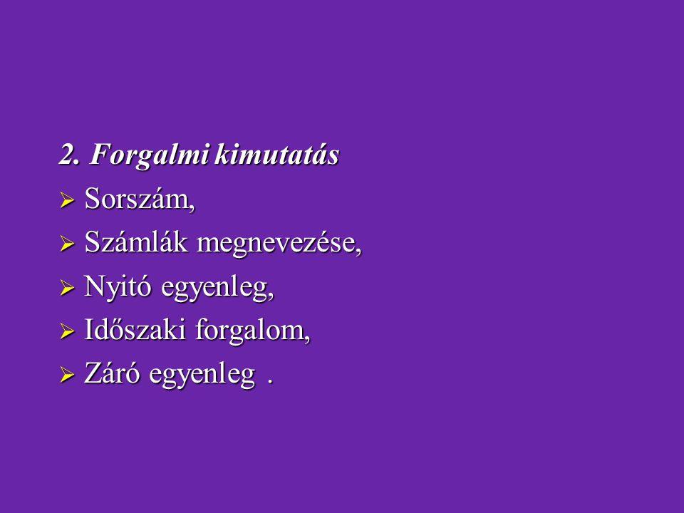 2. Forgalmi kimutatás Sorszám, Számlák megnevezése, Nyitó egyenleg, Időszaki forgalom, Záró egyenleg .