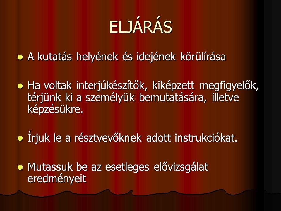 ELJÁRÁS A kutatás helyének és idejének körülírása